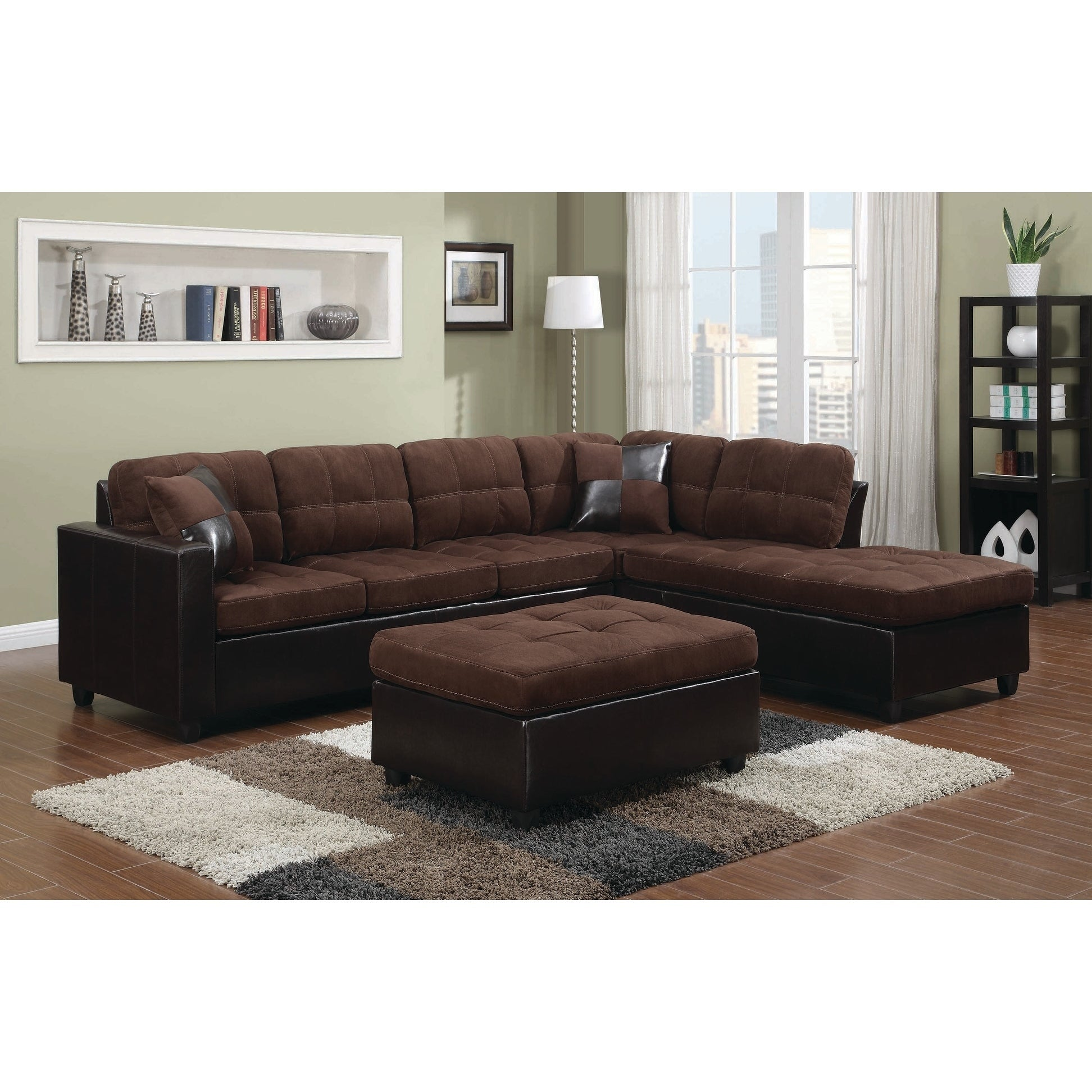 Coaster Furniture Chocolate Velvet Vinyl Tufted Sectional...
