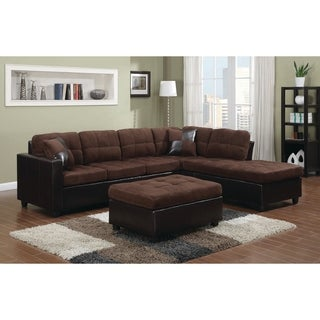 Coaster Company Chocolate Velvet Vinyl Tufted Sectional Sofa
