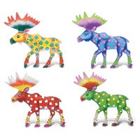 Multicolored Plastic Moose Bobble Metal Magnet