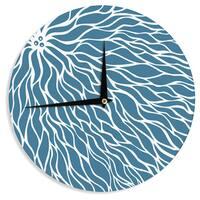 KESS InHouse NL Designs 'Swirls Teal' Blue Teal Wall Clock
