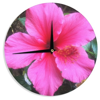 KESS InHouse NL Designs 'Tropical Pink Hibiscus' Pink Floral Wall Clock