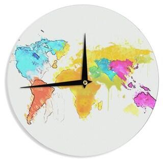 KESS InHouse Oriana Cordero 'World Map' Rainbow White Wall Clock