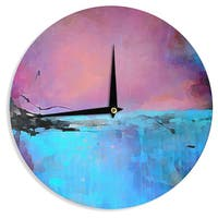 KESS InHouse Oriana Cordero 'Versailles-Abstract' Pink Blue Wall Clock