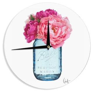 KESS InHouse Oriana Cordero 'Perfect Mason' Blue Pink Wall Clock