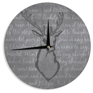 KESS InHouse NL Designs 'Reindeer ' Gray White Wall Clock