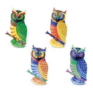 Multicolored Plastic Bobble Metal Owl Magnet