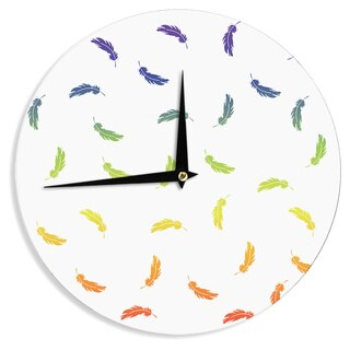 KESS InHouse NL Designs 'Rainbow Feathers On White' Multicolor Pattern Wall Clock