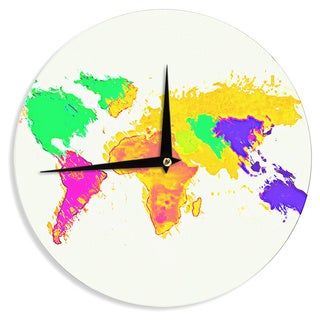 KESS InHouse Oriana Cordero 'My World' Rainbow Map Wall Clock