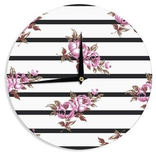 KESS InHouse NL Designs 'Purple Floral Stripes' Black White Wall Clock