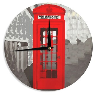 KESS InHouse Oriana Cordero 'London' Red Gray Wall Clock