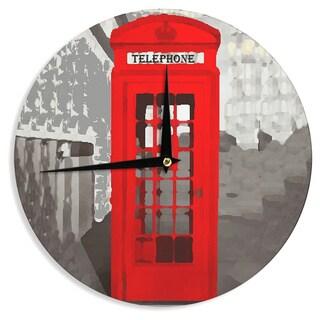 KESS InHouse Oriana Cordero 'London' Red Gray Wall Clock
