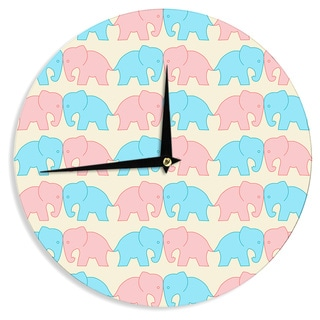 KESS InHouse NL Designs 'Pastel Elephants On Parade' Pastel Animals Wall Clock