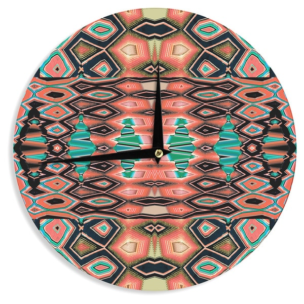 KESS InHouse Nina May 'Deztecca Salmon' Orange Teal Wall Clock
