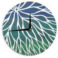 KESS InHouse NL Designs 'Ocean Flower' Teal Green Wall Clock