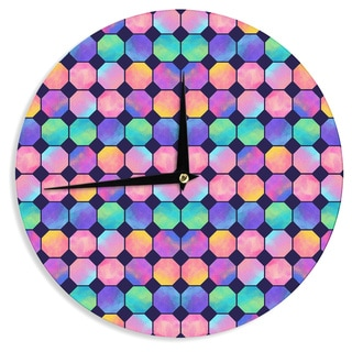 KESS InHouse Noonday Design 'Colorful Watercolor Octagons' Watercolor Abstract Wall Clock