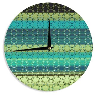 KESS InHouse Nina May 'Denin Diamond Gradient Green' Turquoise Emerald Wall Clock