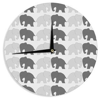 KESS InHouse NL Designs 'Elephants On Parade' Gray Animals Wall Clock