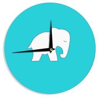KESS InHouse NL Designs 'Cute Blue White Elephant' Animals Blue Wall Clock