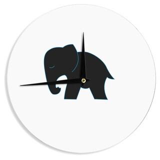 KESS InHouse NL Designs 'Cute Black Elephant' Black Animals Wall Clock