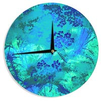 KESS InHouse Nina May 'Wildflower Blue' Teal Blue Wall Clock