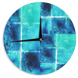 KESS InHouse Nina May 'Saltwater Study' Teal Blue Wall Clock