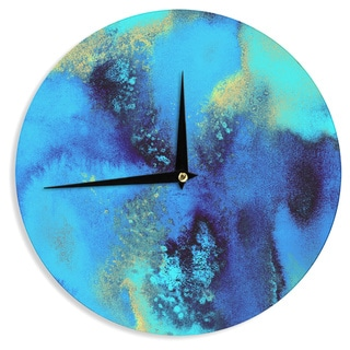 KESS InHouse Nina May 'Salten Sea' Blue Teal Wall Clock