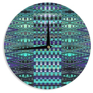 KESS InHouse Nina May 'New Kilim Seafoam' Teal Wall Clock