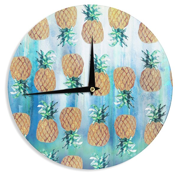KESS InHouse Nikki Strange Pineapple Beach Blue Brown Wall Clock