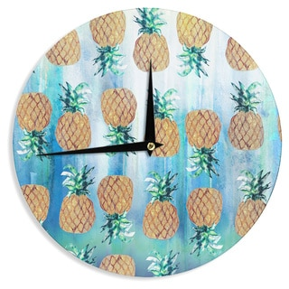 KESS InHouse Nikki Strange 'Pineapple Beach' Blue Brown Wall Clock