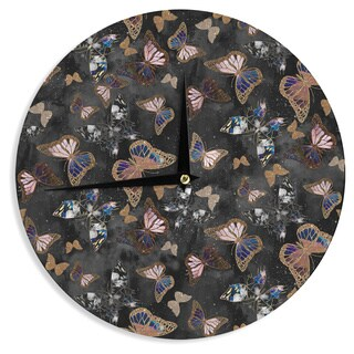 KESS InHouse Nikki Strange 'Galactic Butterfly' Black Brown Wall Clock