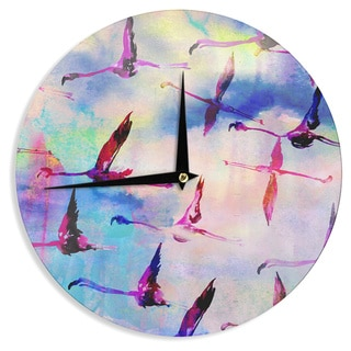 KESS InHouse Nikki Strange 'Flamingo in Flight' Wall Clock