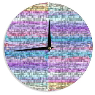 KESS InHouse Nina May 'Drip Dye Strid' Abstract Pastel Wall Clock