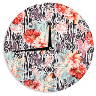 KESS InHouse Nika Martinez 'Tropical Fusion' Red Floral Wall Clock