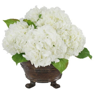 Jane Seymour Botanicals White Hydrangeas in 17-inch Brown Round Planter