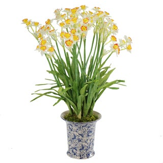 Jane Seymour Botanicals Yellow and White Petite Jonquils In 26-inch Tall Blue and White Ceramic Vase