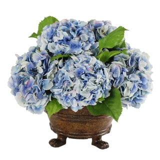 Jane Seymour Botanicals Blue Hydrangeas In Brown Round Planter