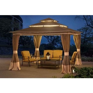 Sunjoy Tierney Tan Synthetic Fiber/Steel 10-foot x 12-foot Gazebo