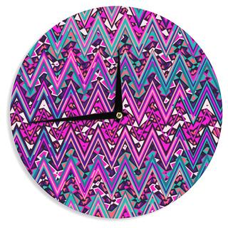 KESS InHouse Nika Martinez 'Pink Electric Chevron' Wall Clock