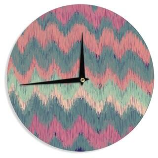 KESS InHouse Nika Martinez 'Ikat Chevron' Multicolor Wall Clock
