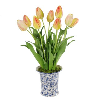 Jane Seymour Botanicals Yellow Orange 21-inch Dutch Tulips In Blue/White Flared Ceramic Vase