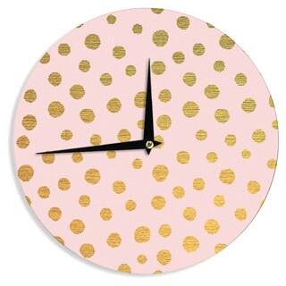 KESS InHouse Nika Martinez 'Golden Dots & Pink' Blush Wall Clock