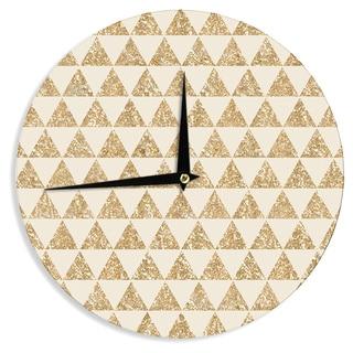 KESS InHouse Nika Martinez 'Glitter Triangles in Gold' Tan Yellow Wall Clock