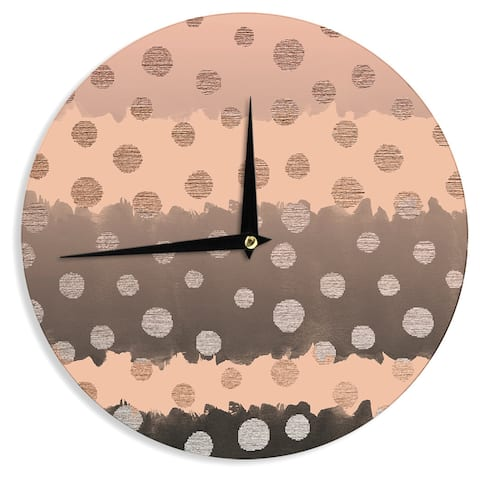 KESS InHouse Nika Martinez 'Earth Dots' Brown Metallic Wall Clock