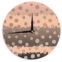 KESS InHouse Nika Martinez 'Earth Dots' Brown Metallic Wall Clock
