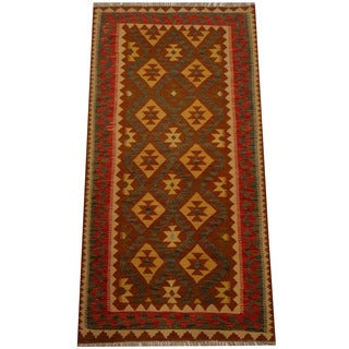 Herat Oriental Afghan Hand-woven Vegetable Dye Wool Kilim (3'3 x 6'6)