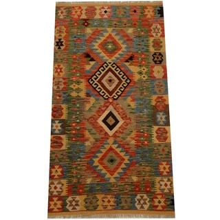 Herat Oriental Afghan Hand-woven Vegetable Dye Wool Kilim (3'3 x 6'2)