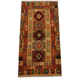 Herat Oriental Afghan Hand-woven Vegetable Dye Wool Kilim (3'5 x 6'6)