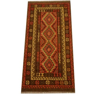 Herat Oriental Afghan Hand-woven Vegetable Dye Wool Kilim (3'4 x 6'9)