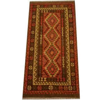 Herat Oriental Afghan Hand-woven Vegetable Dye Wool Kilim (3'4 x 6'9)