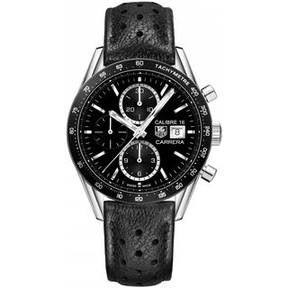 Tag Heuer Men's CV201AJ.FC6357 'Carrera' Chronograph Automatic Black Leather Watch